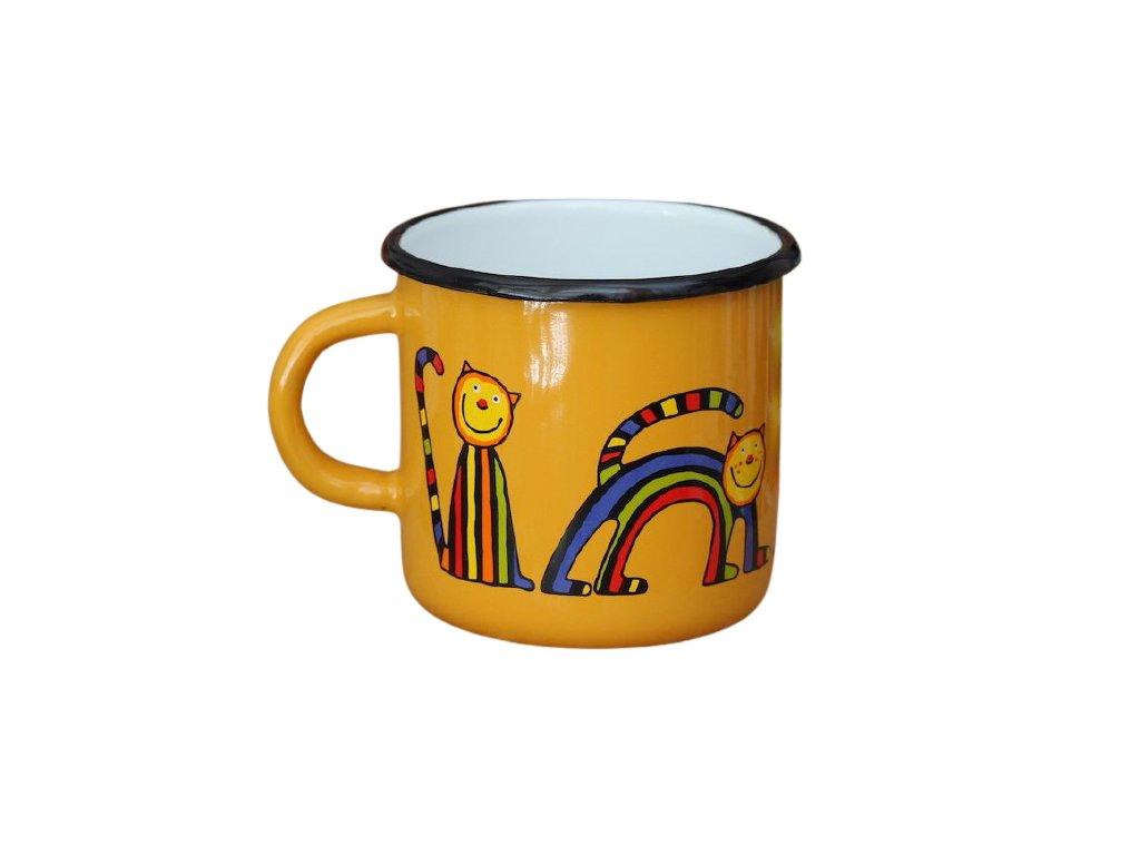 1482 enamel mug yellow motive cat