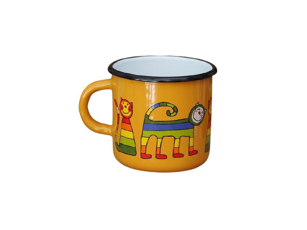 1485 enamel mug yellow motive cat