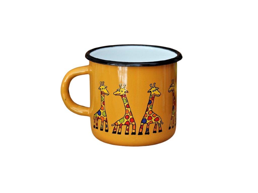 1488 enamel mug yellow motive giraffe