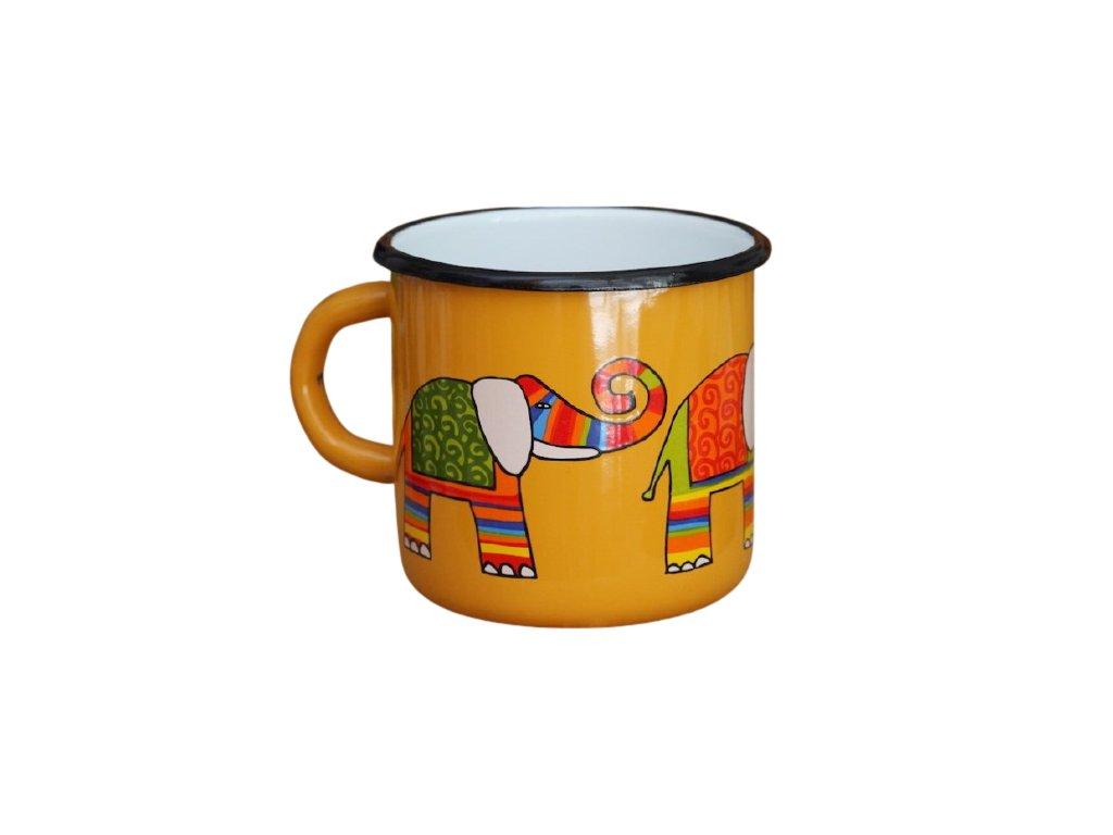 1491 enamel mug yellow motive elephant