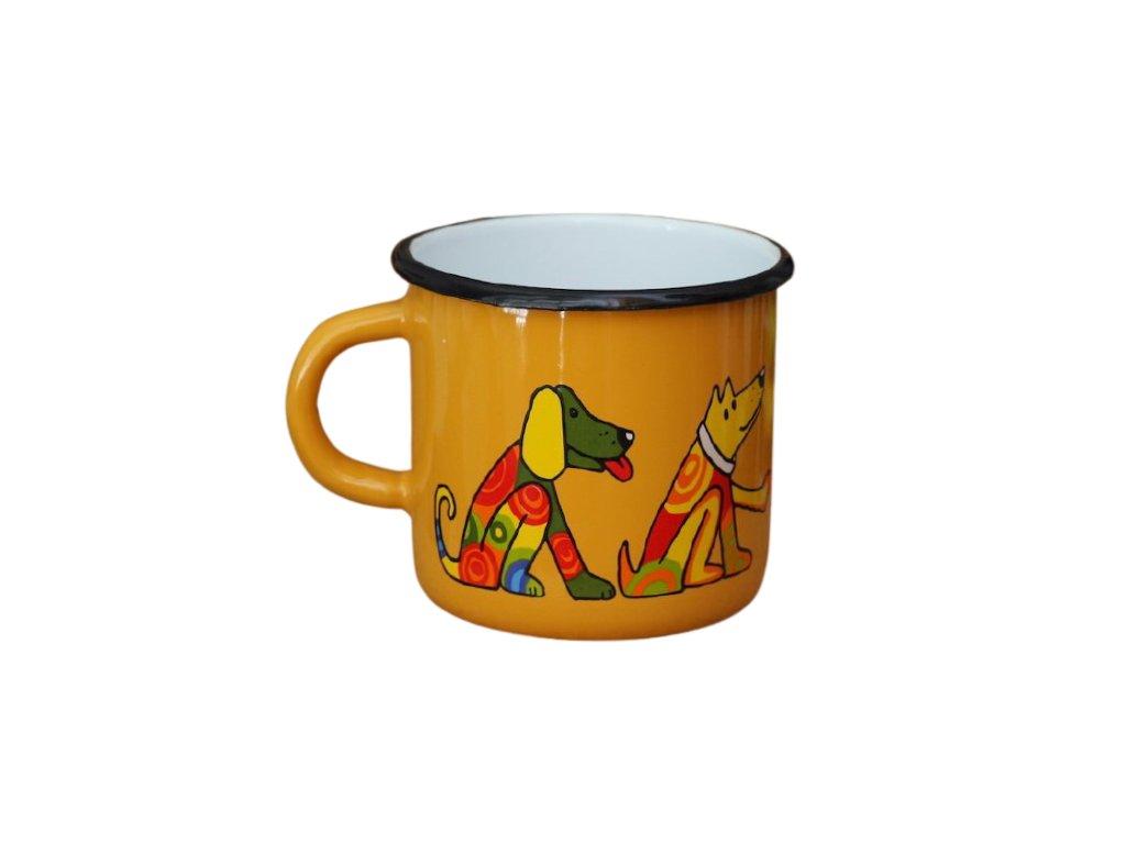 1494 enamel mug yellow motive dog