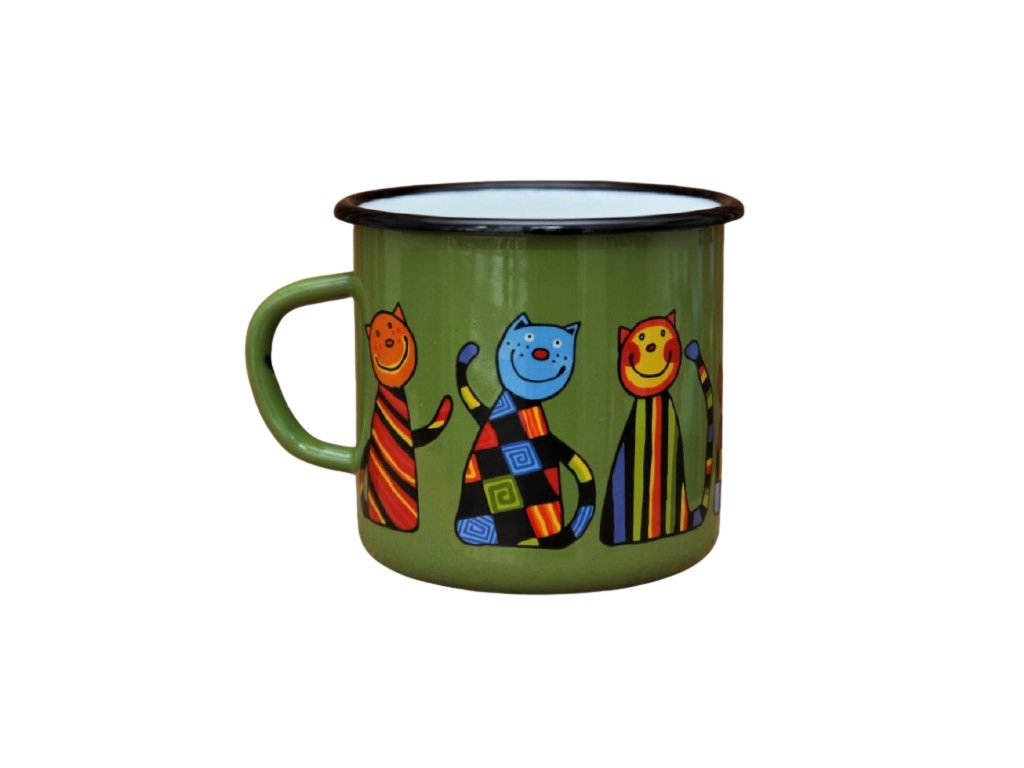 149 enamel mug green motive cat