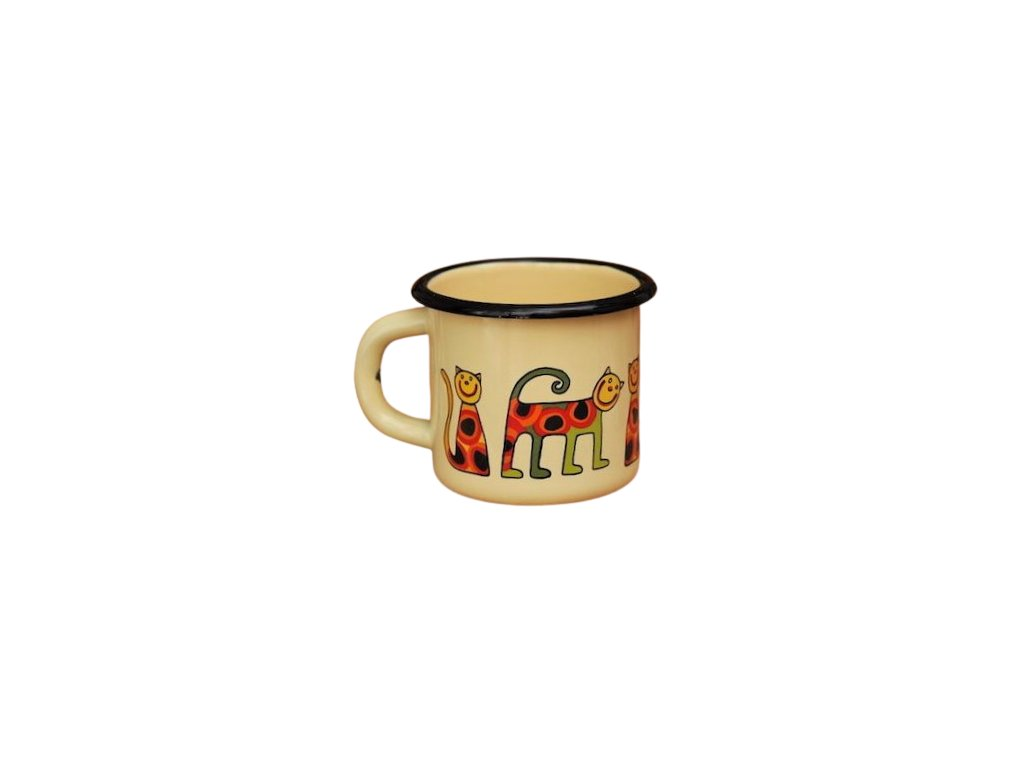1503 enamel mug cream motive cat