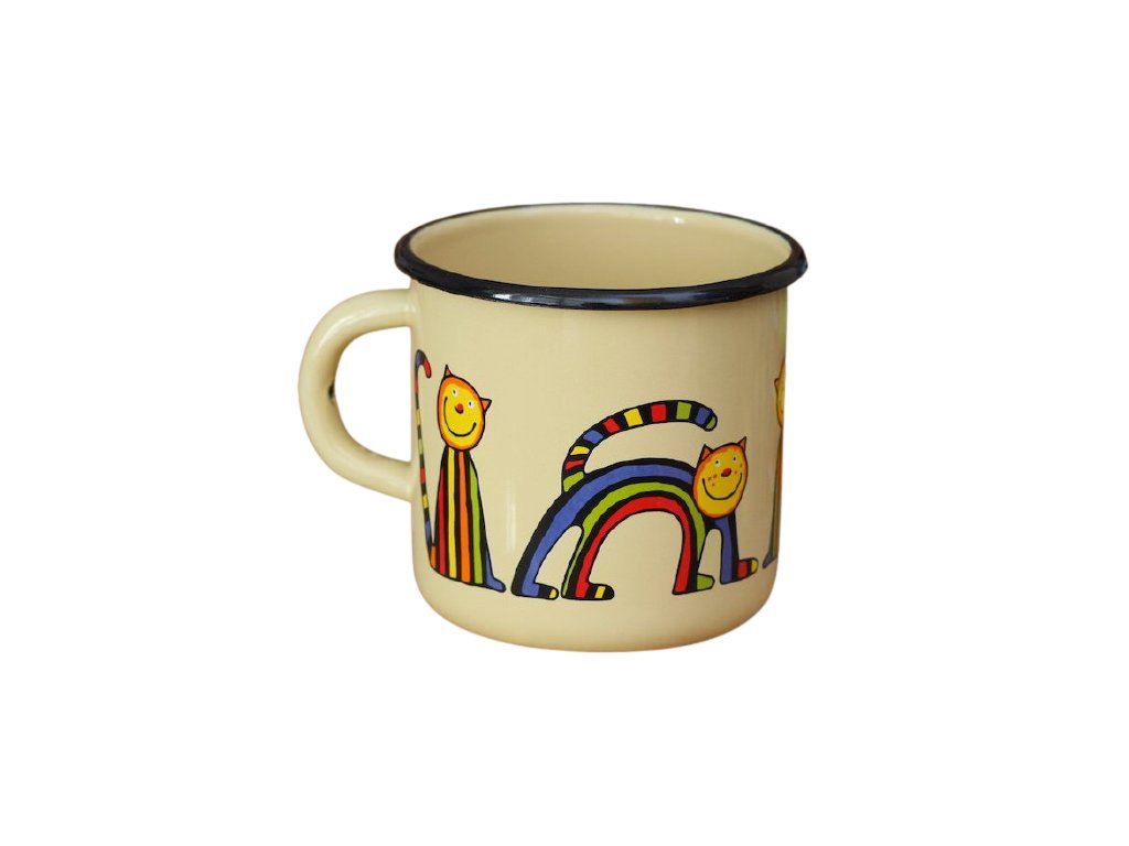 1506 enamel mug cream motive cat