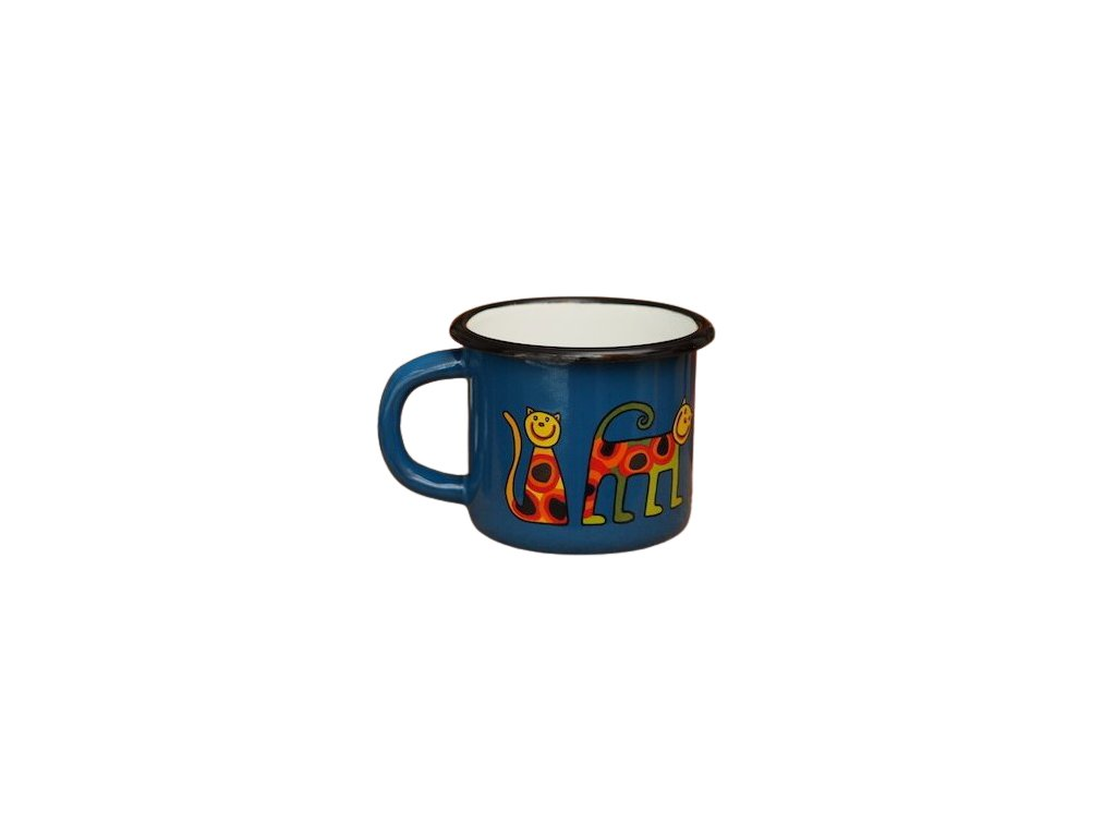 1527 enamel mug navy blue motive cat