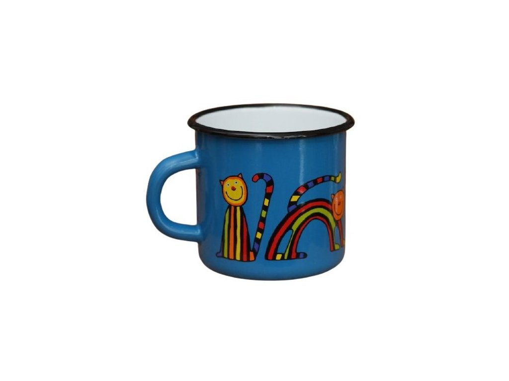 1530 enamel mug navy blue motive cat