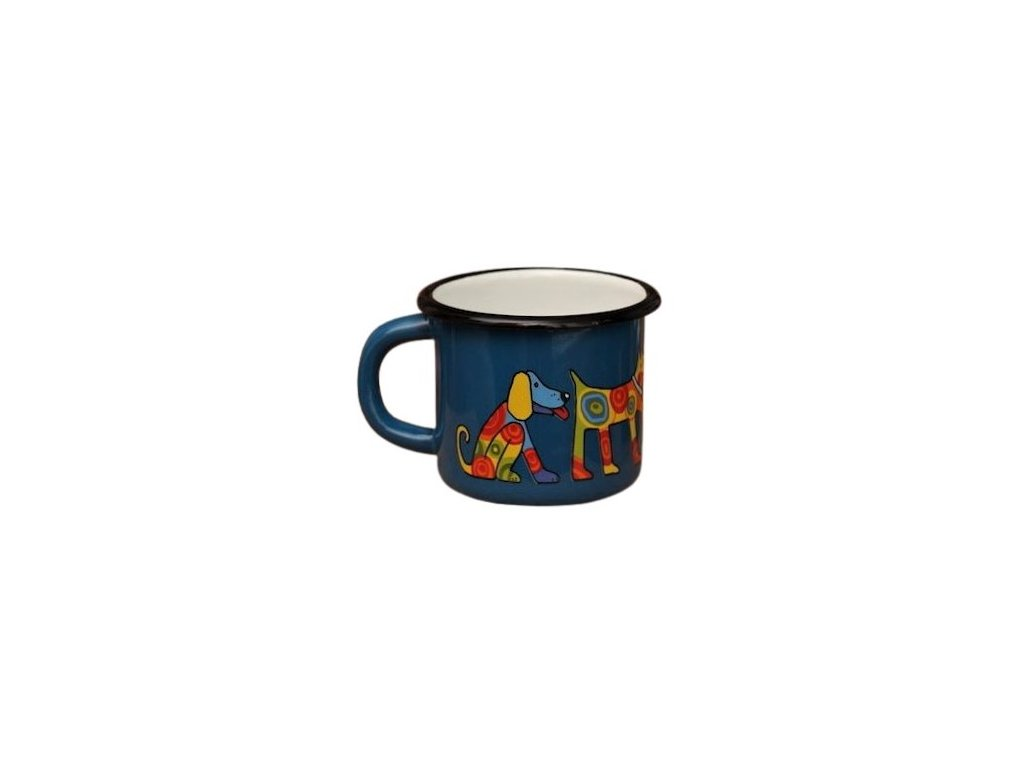 1542 enamel mug navy blue motive dog