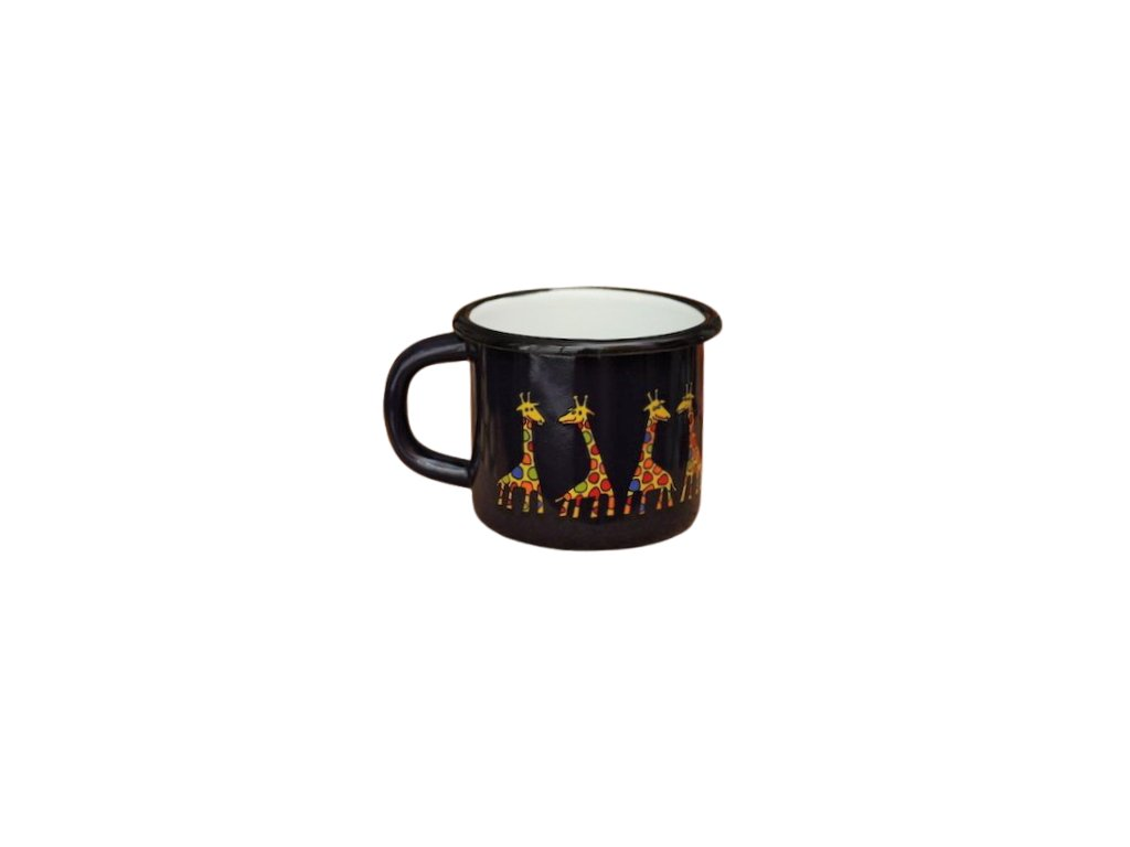 1560 enamel mug dark blue motive giraffe