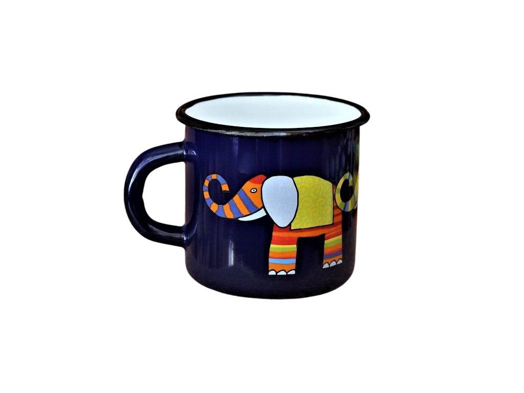 1563 enamel mug dark blue motive elephant