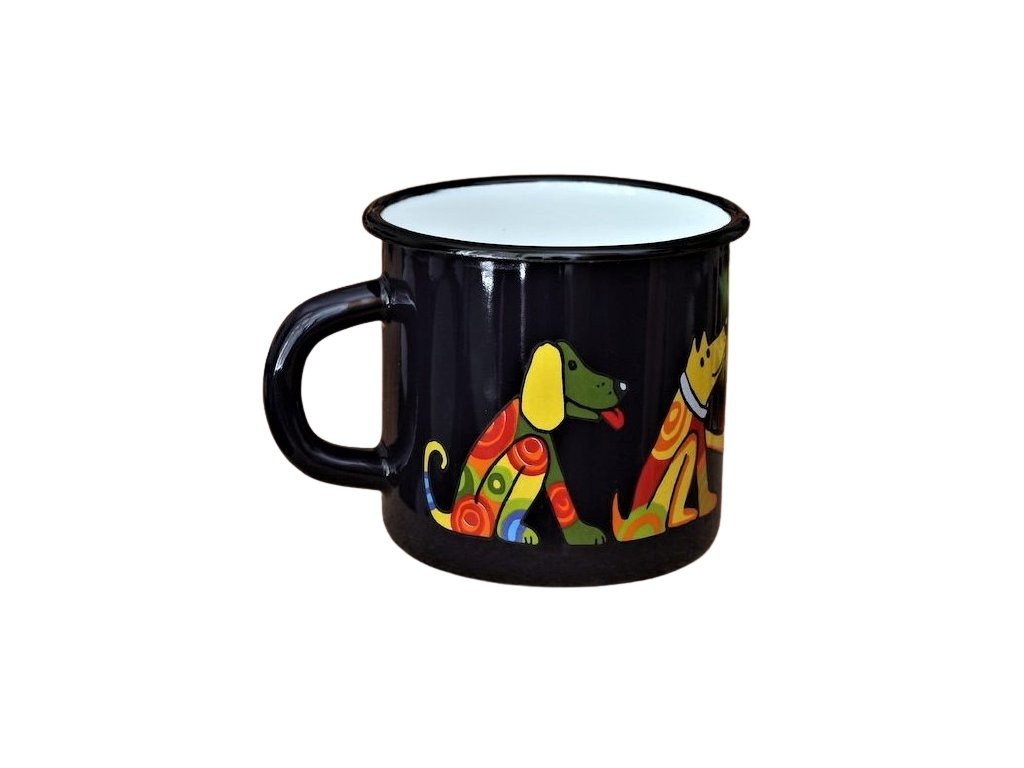 1566 enamel mug dark blue motive dog