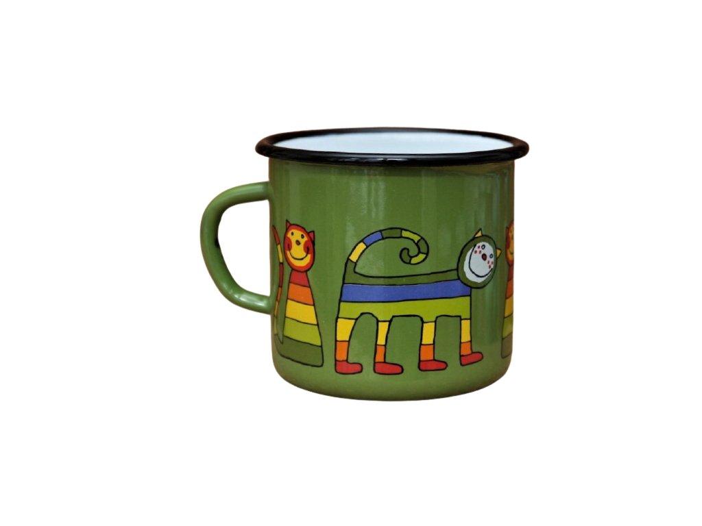 1581 enamel mug dark green motive cat