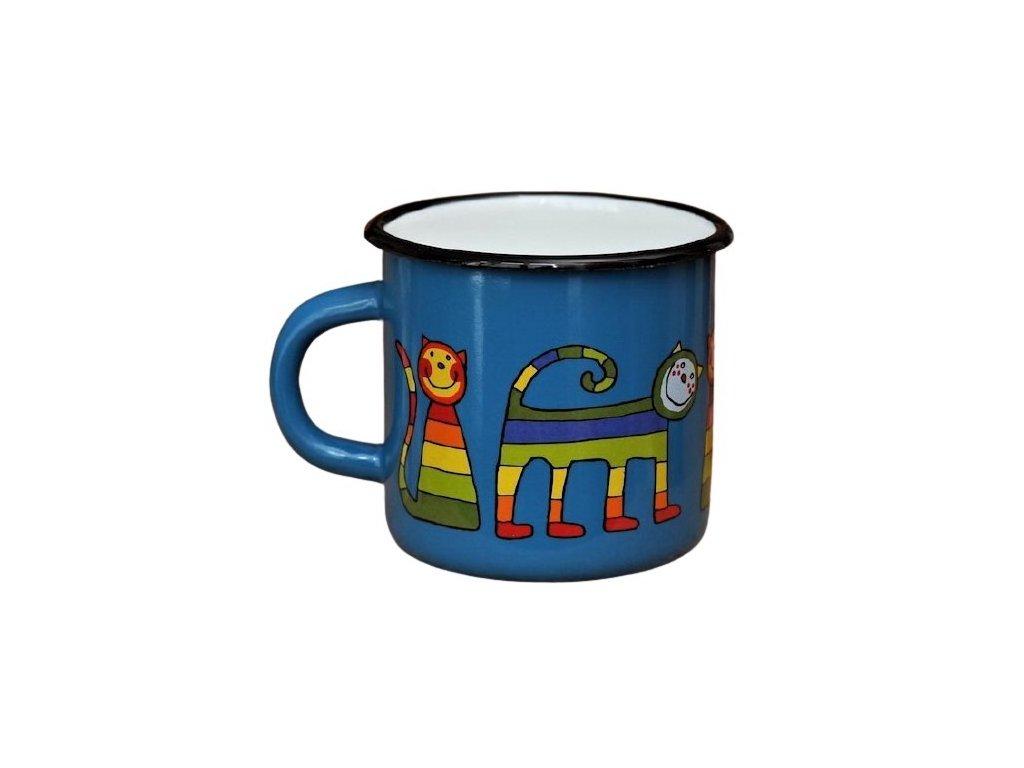 158 enamel mug navy blue motive cat