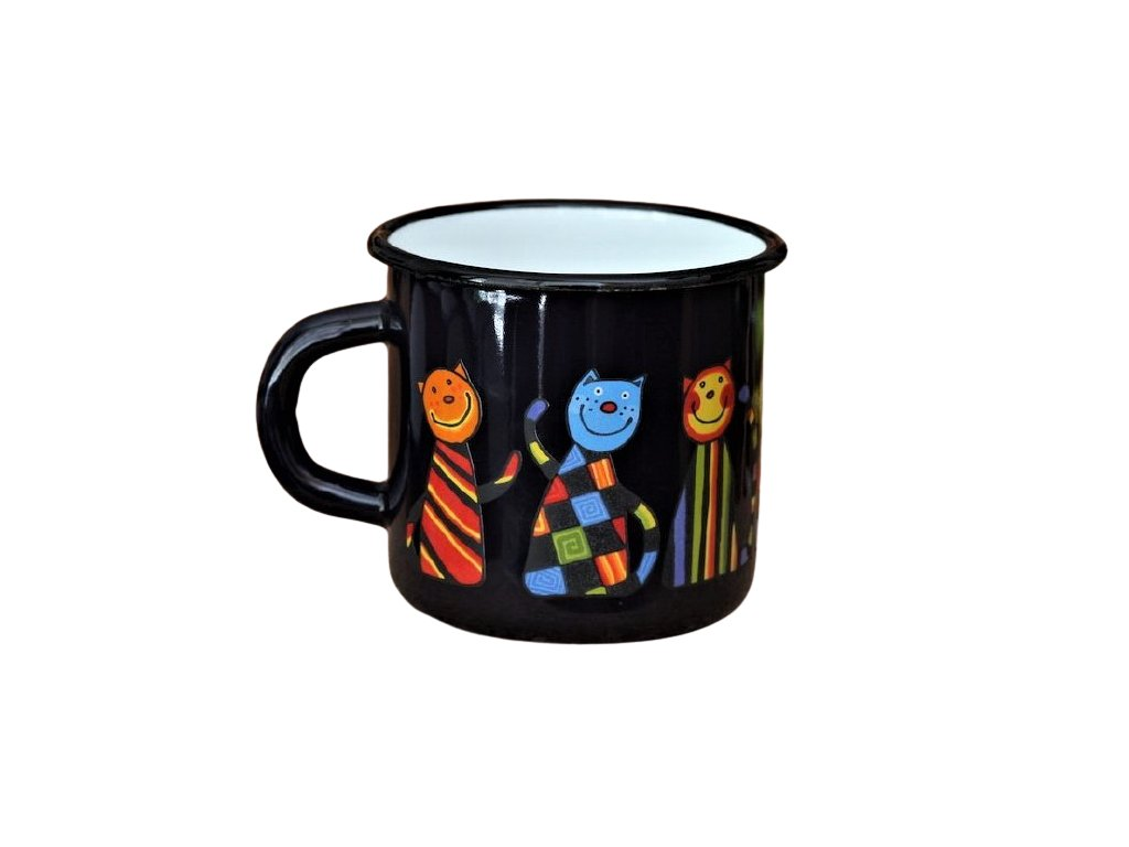 1620 enamel mug dark blue motive cat