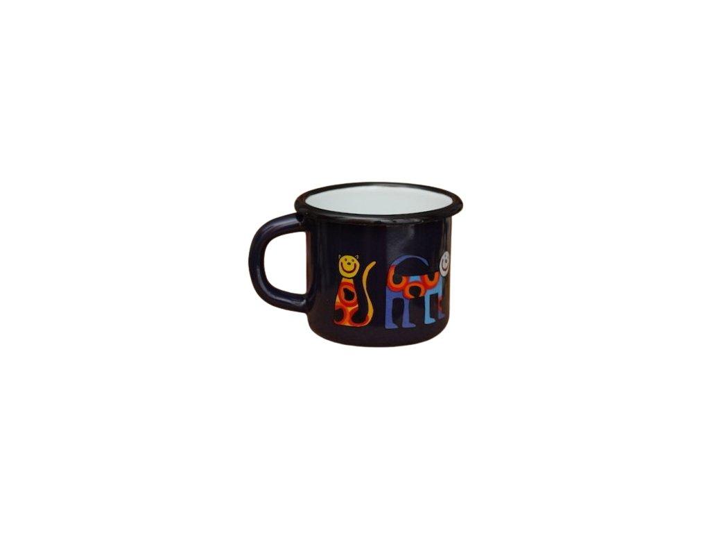 1623 enamel mug dark blue motive cat
