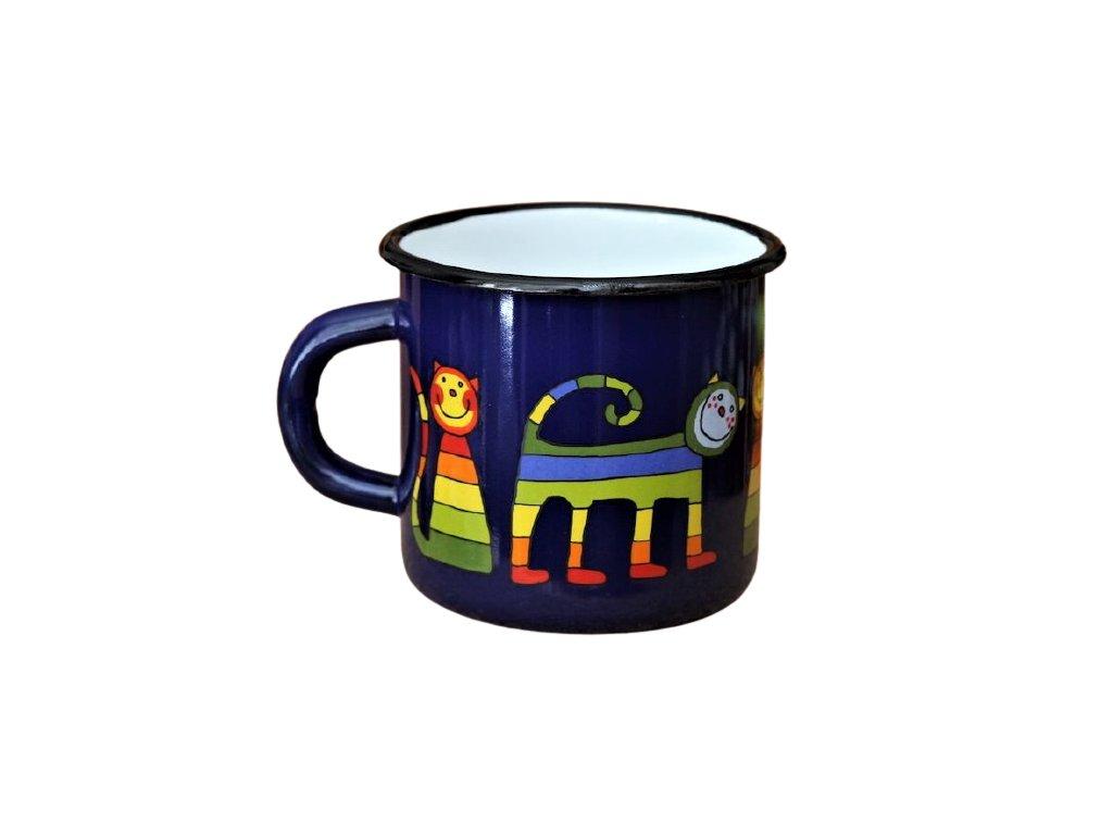 1629 enamel mug dark blue motive cat