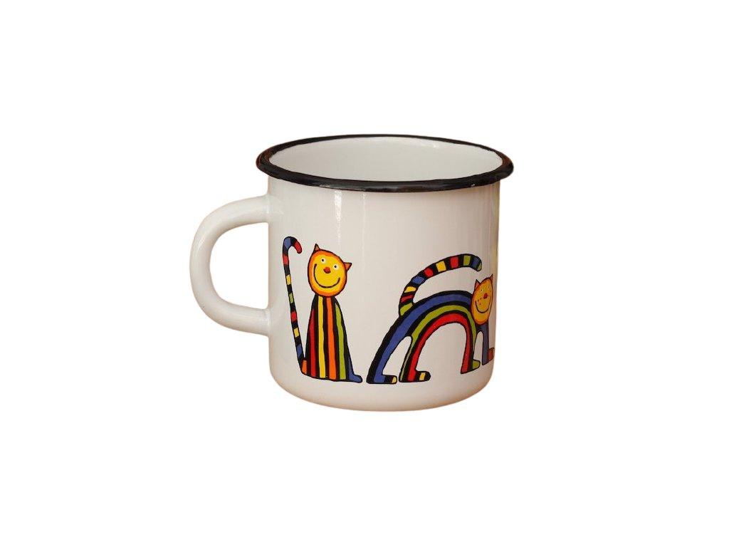 1650 enamel mug white motive cat