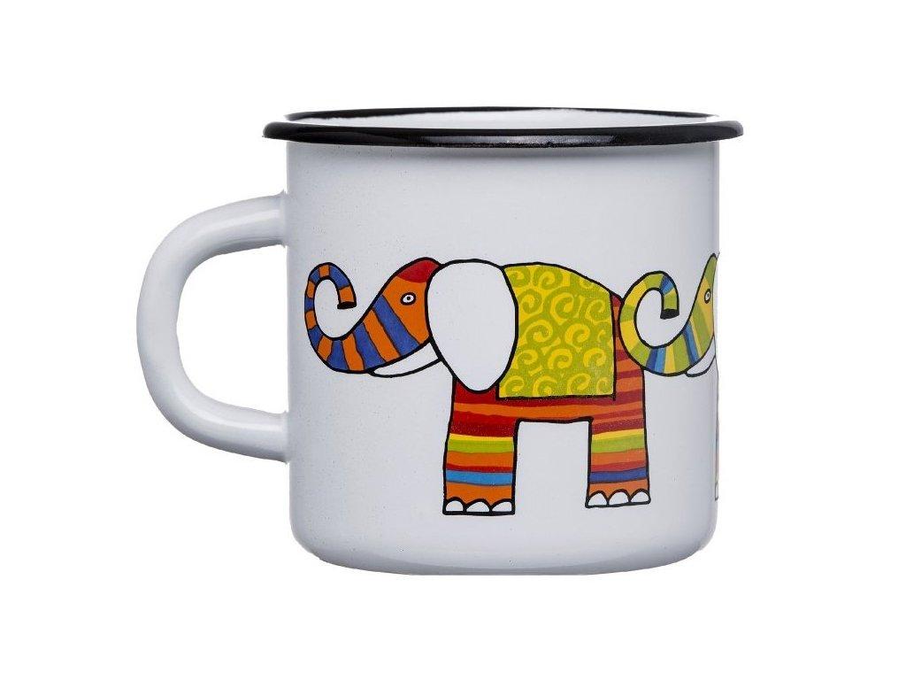 1659 enamel mug white motive elephant