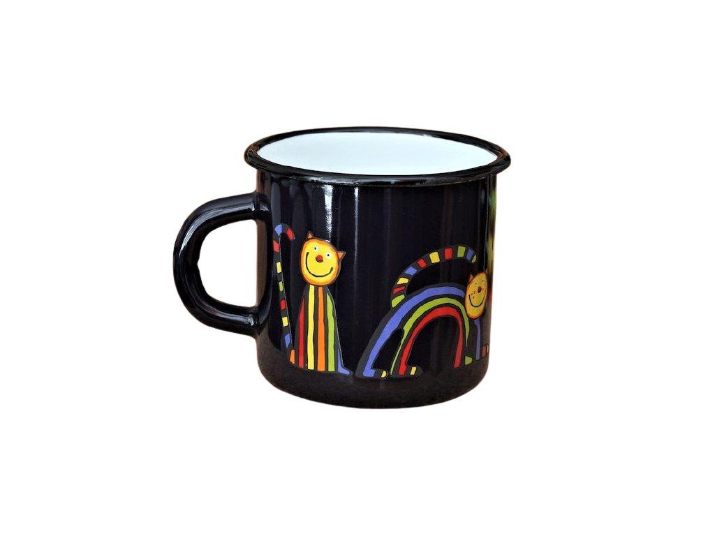 1683 enamel mug dark blue motive cat