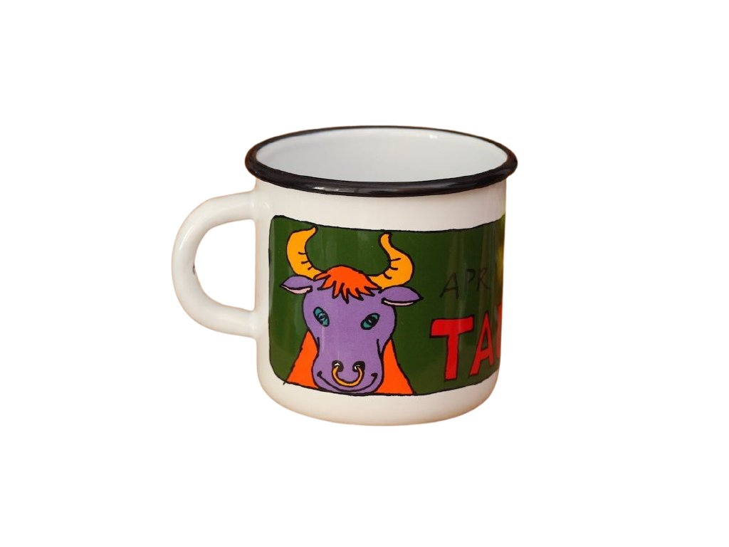 1701 enamel mug white zodiac sign taurus
