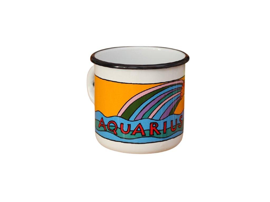 1728 enamel mug white zodiac sign aquarius