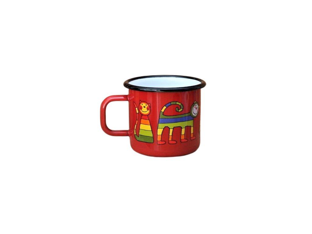 1752 enamel mug red cat motive