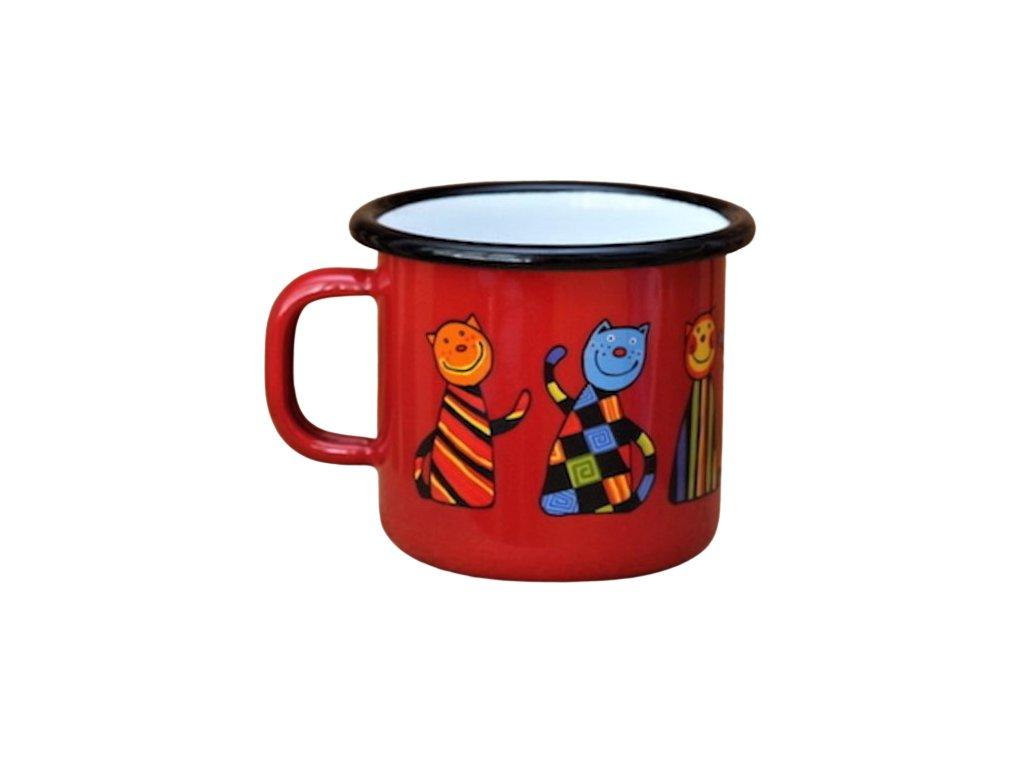 1755 enamel mug red cat motive