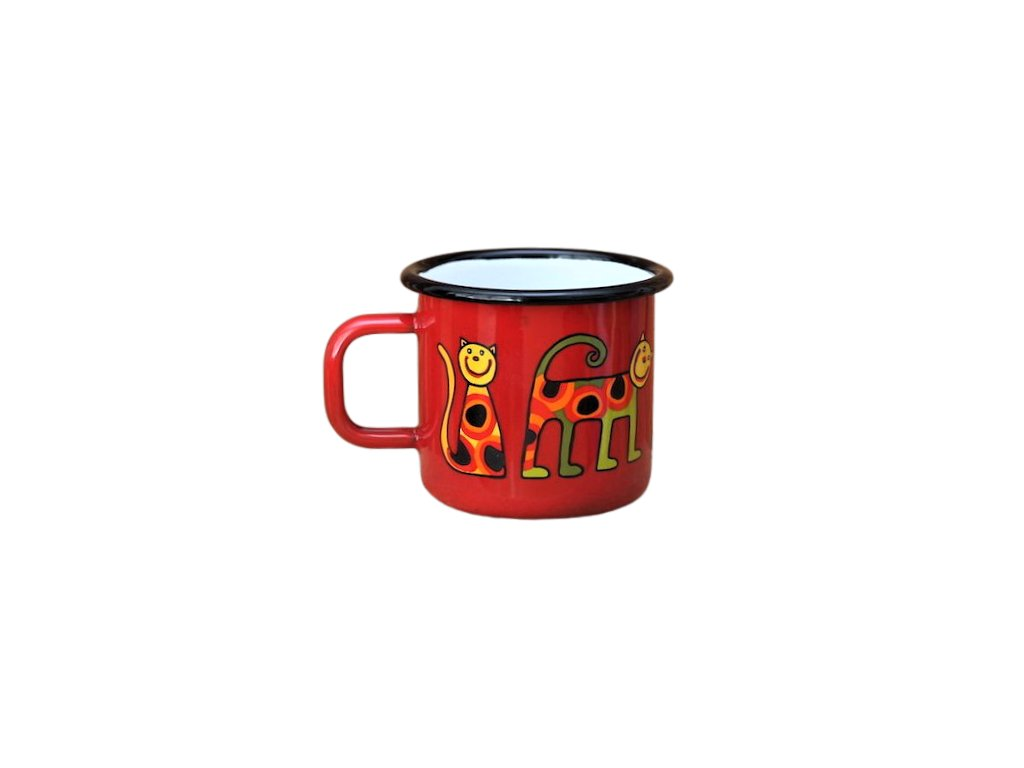 1767 enamel mug red motive cat