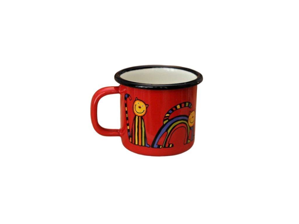 1770 enamel mug red motive cat