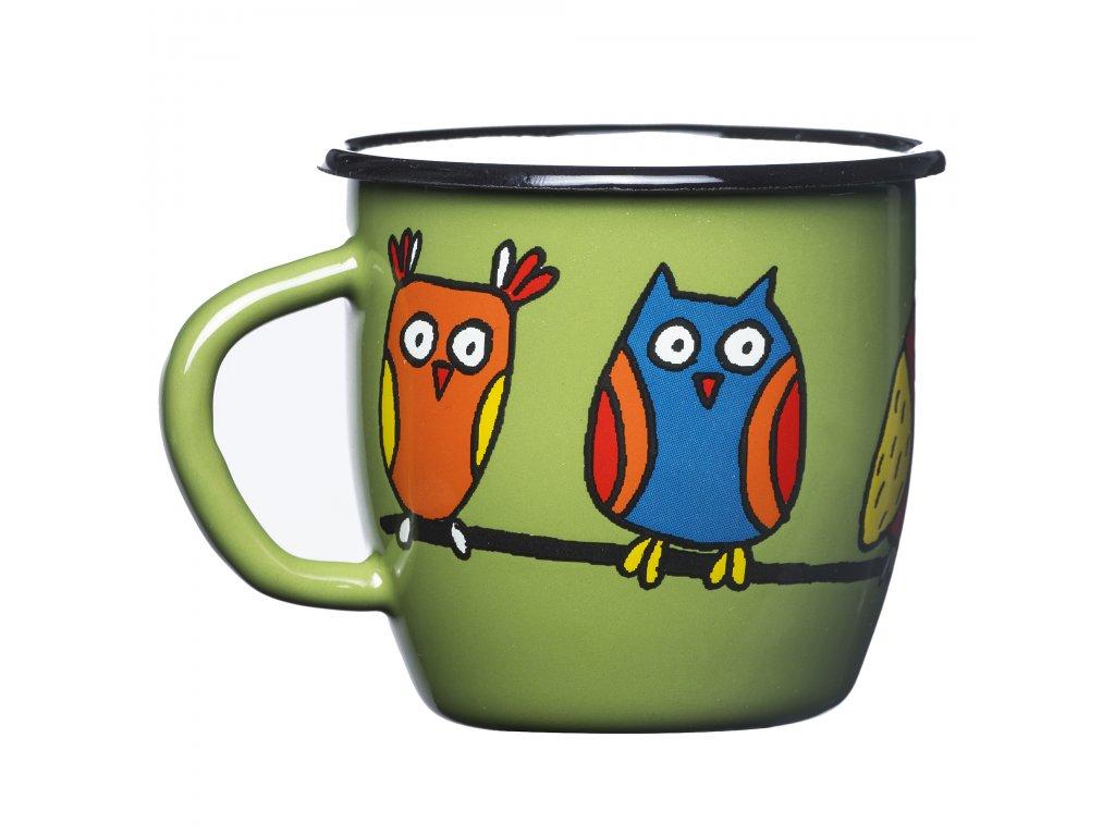 Mug 7cm - green, owl (conical)