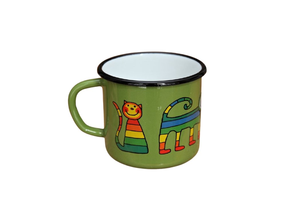 1866 enamel mug green motive cat