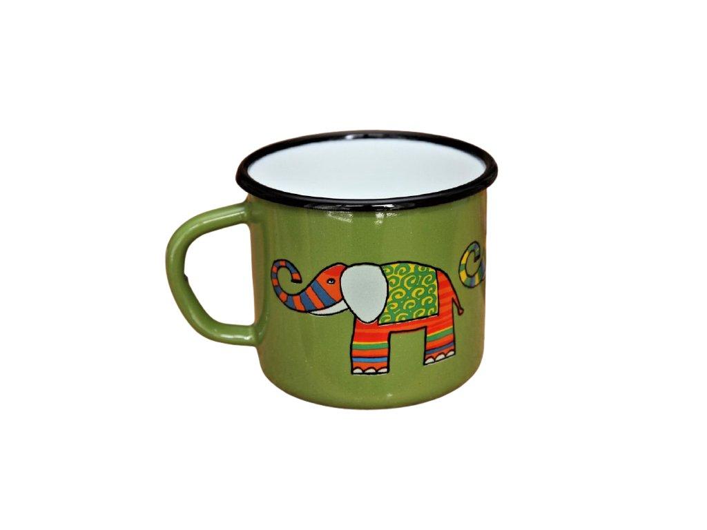 1869 enamel mug green motive elephant