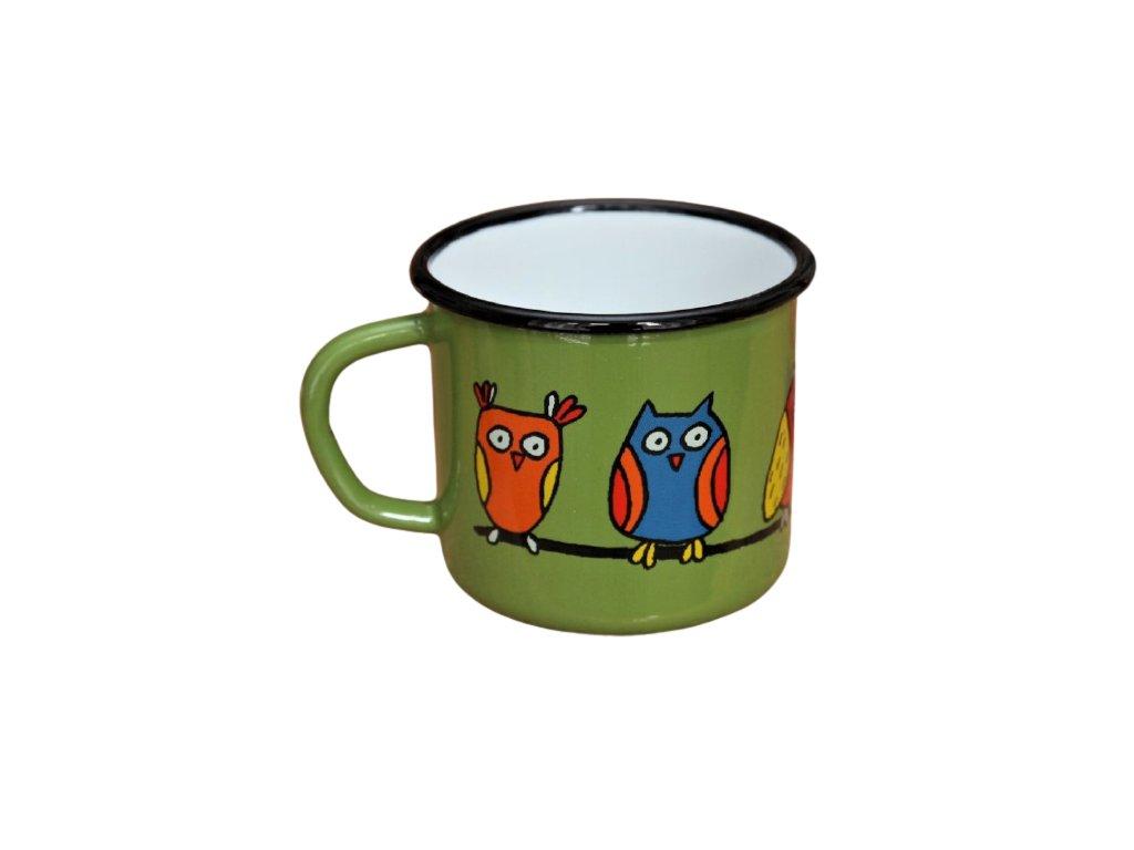 1872 enamel mug green motive owl