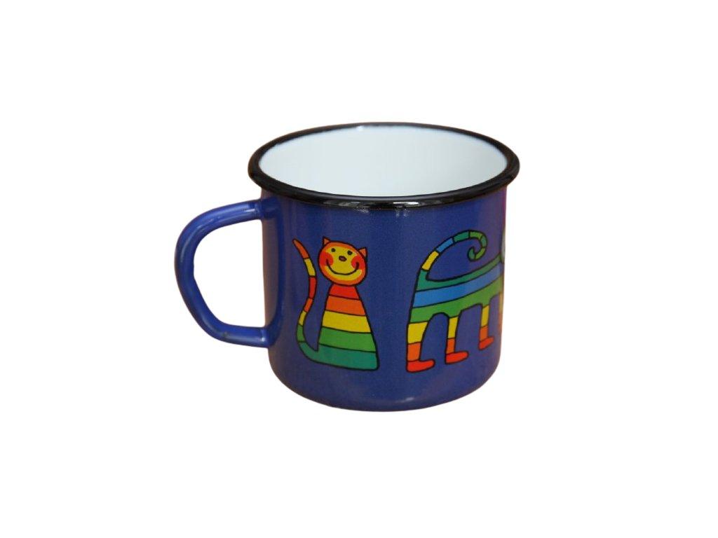 1875 enamel mug blue motive cat