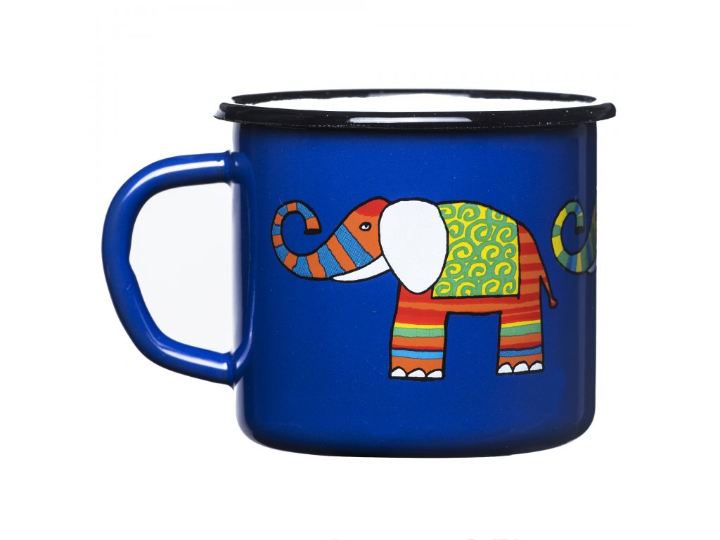 Mug 7cm - dark blue, elephant