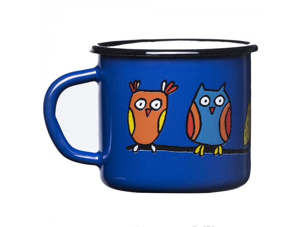 Mug 7cm - dark blue, owl