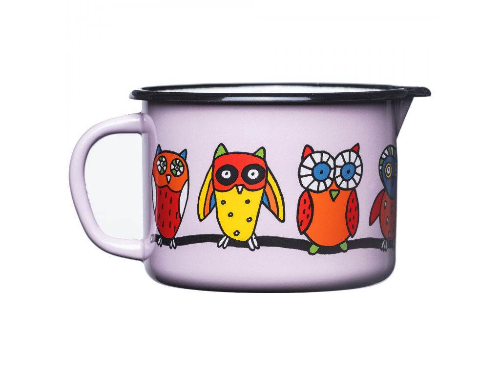 1890 5 mug with spout pink owl
