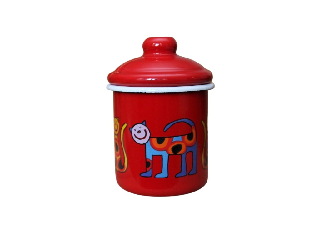 2132 red sugar bowl cat with dots