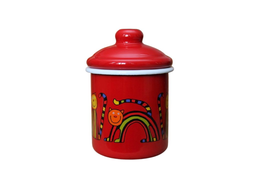 2135 red sugar bowl stripy cat
