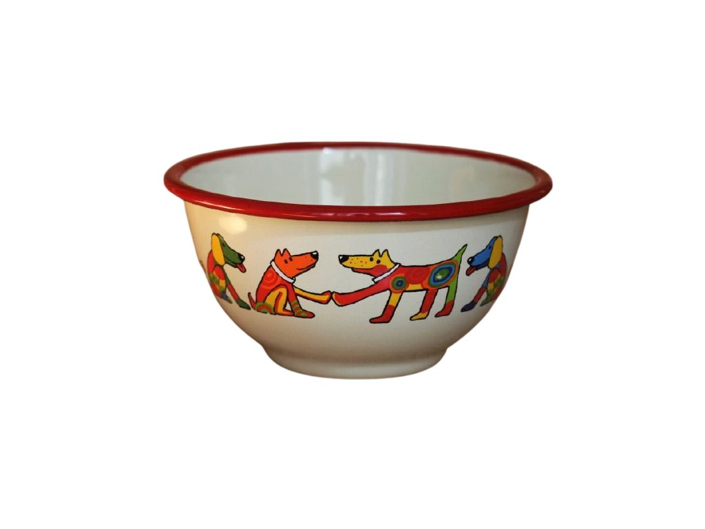 2177 cream bowl with dogs