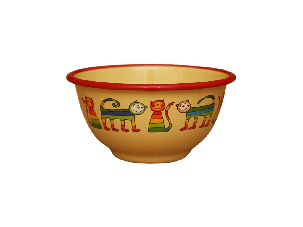2192 yellow bowl with rainbow cats