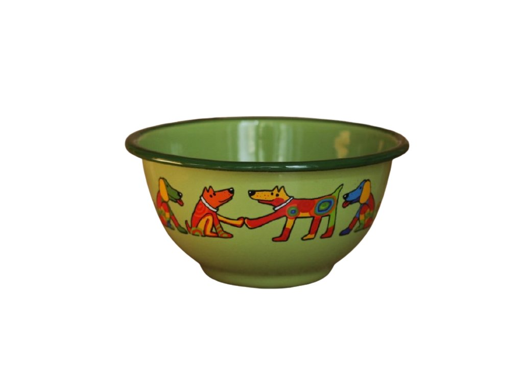 2249 green bowl with dogs