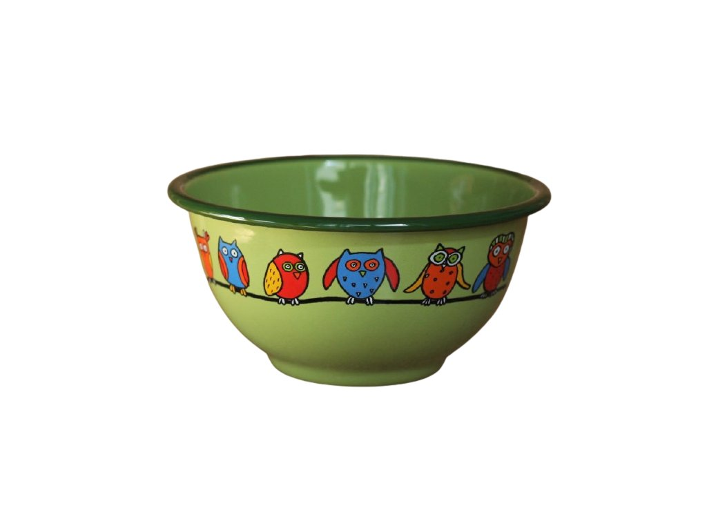 2252 green bowl with owls
