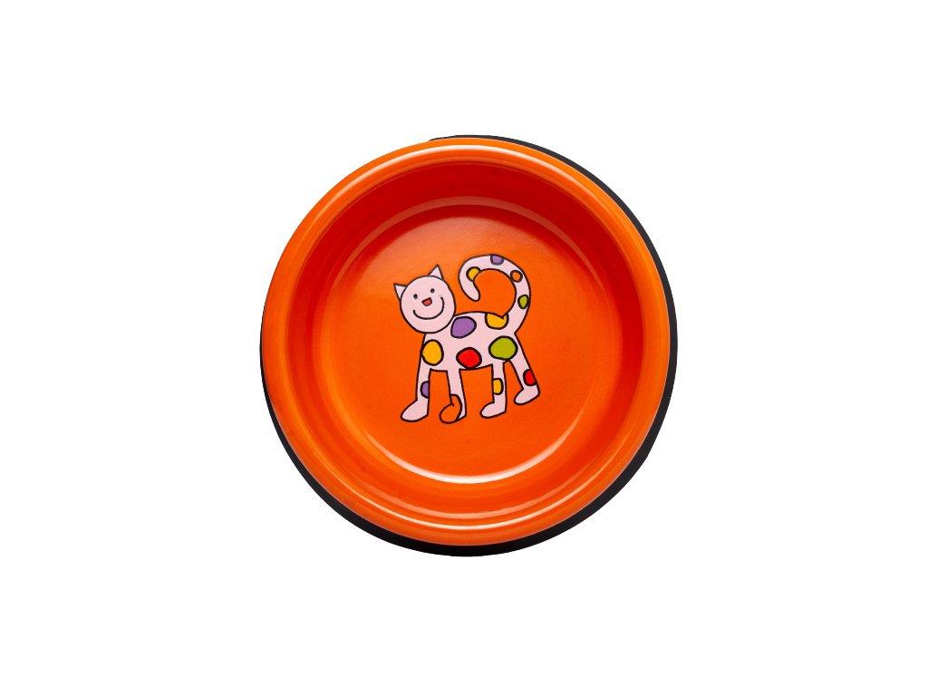 Smaltovana miska oranzova kote mala removebg preview