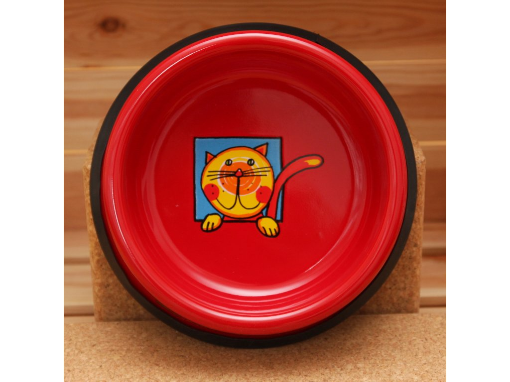 2435 3 cat bowl red
