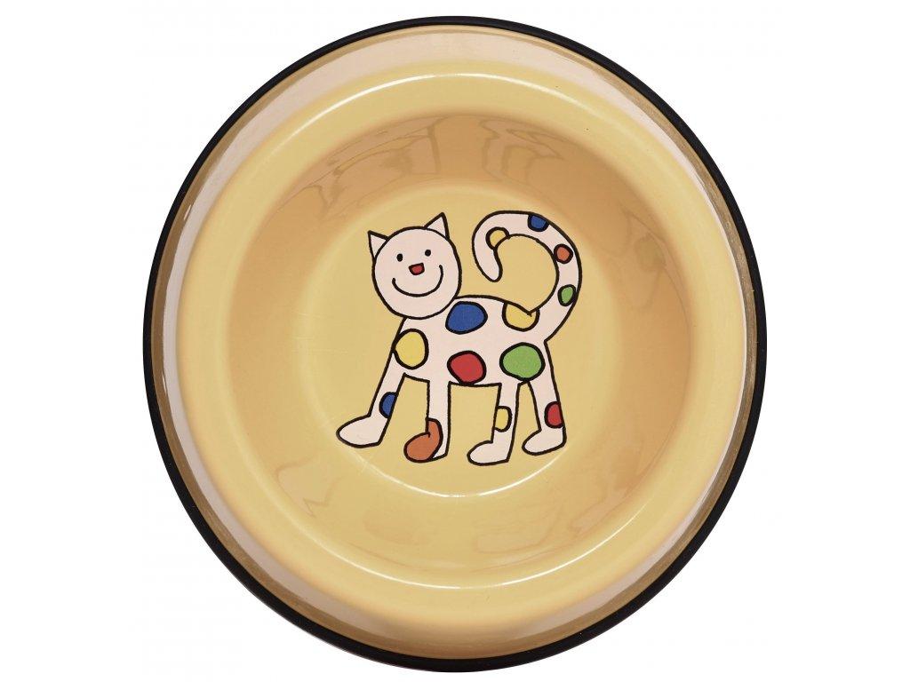Miska pro kocky smaltovana zluta kote (3)