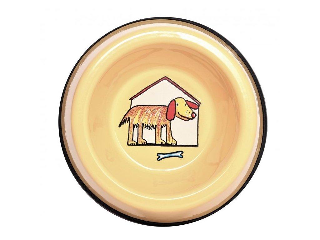2513 3 enamel dog bowl yellow small