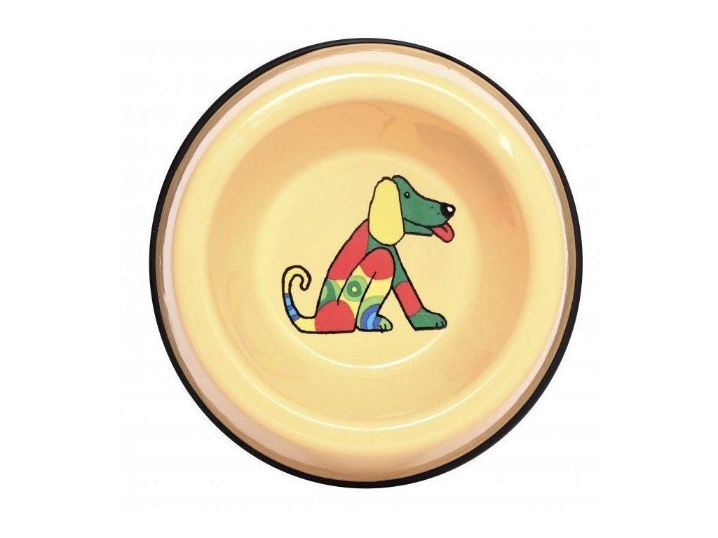 2525 3 enamel dog bowl yellow small