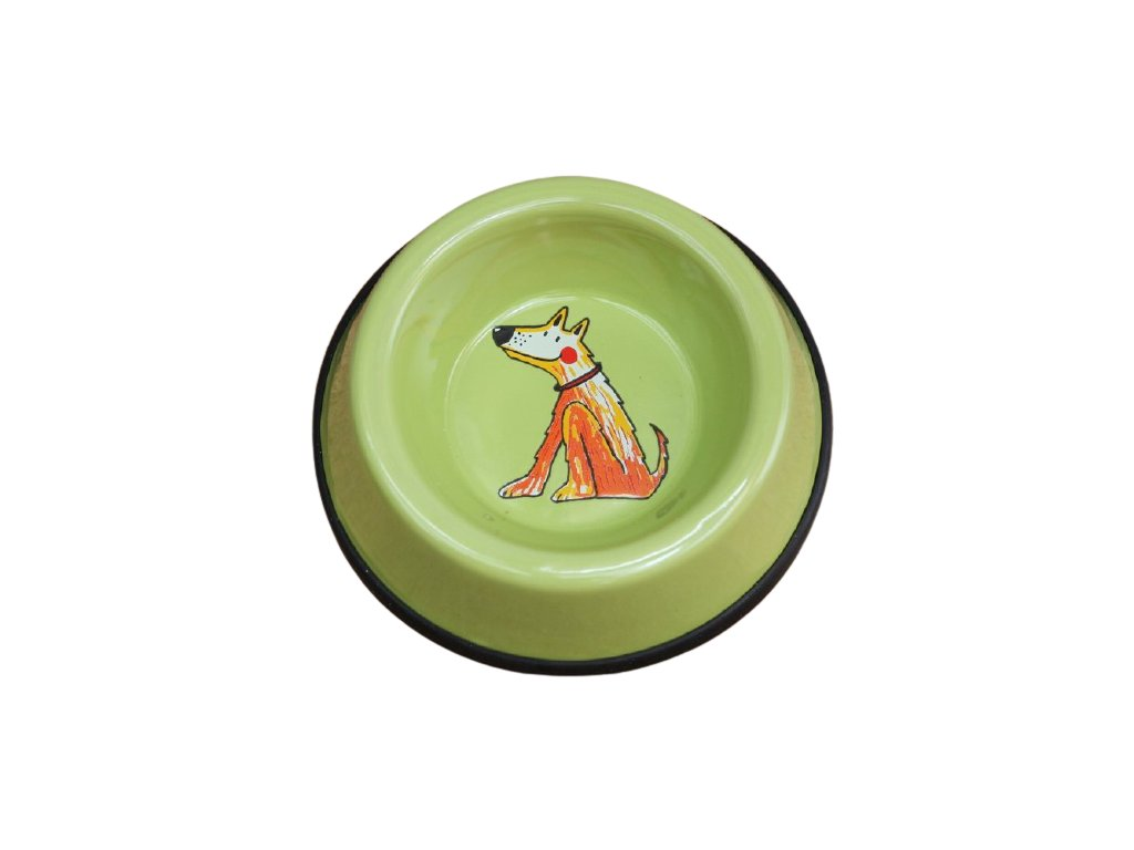 smaltovana miska mala pes zelena