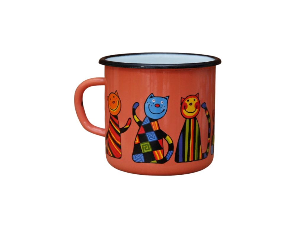 2558 enamel mug coral motive cat