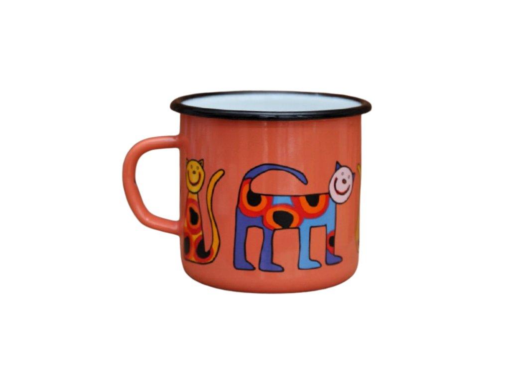 2561 enamel mug coral motive cat